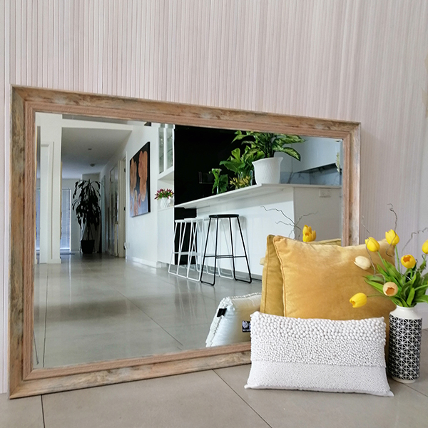 Rustic Wood Style Beveled Mirror 100 Cm X 140 Cm Quote J149 Natural Melbourne Mirrors
